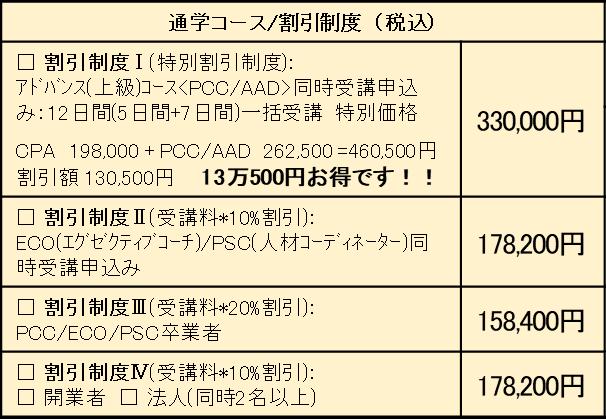 通学コース割引制度表(税込)